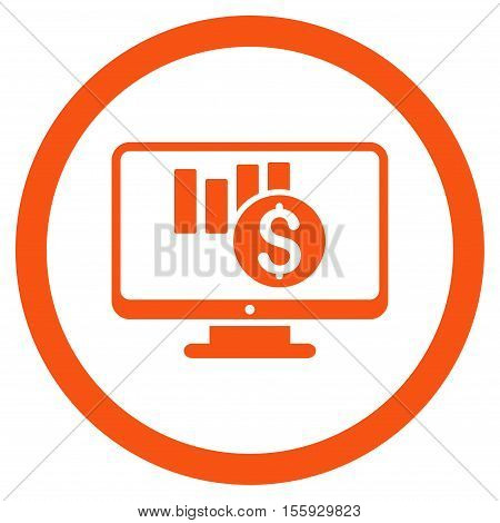 Sales Chart Monitoring rounded icon. Vector illustration style is flat iconic symbol, orange color, white background.