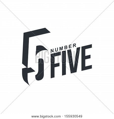 Black and white number five diagonal logo template, vector illustrations isolated on white background. Graphic logo with diagonal logo with number five