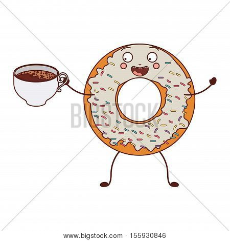 avatar donut with white glazed and holding cup of tea vector illustration