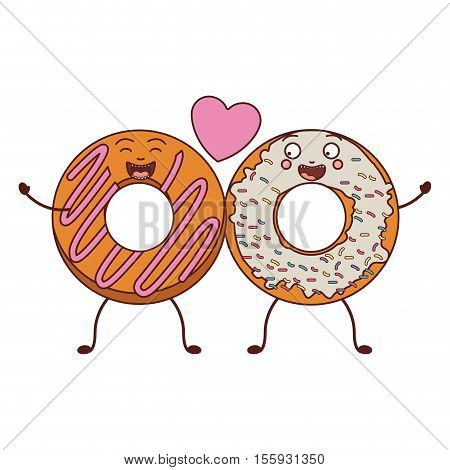 love between donuts with white and pink glazed vector illustration