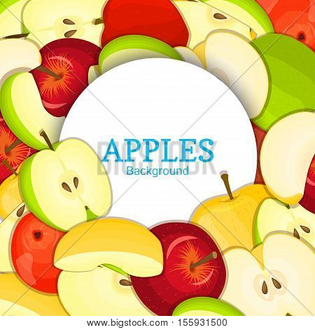 Round white frame on color apples background. Vector card illustration. Delicious fresh apple whole, peeled, piece of half, slice, leaves, seed. appetizing looking for packaging design of food