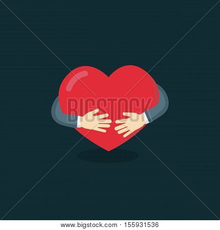 Hug The Love Shape Vector, Hug Your Self Love Your Self. I like hugs Vector illustration, heart sign, heart symbol