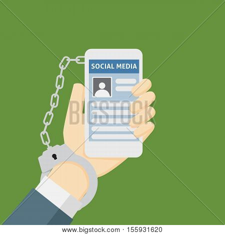 Smartphone Addiction Metaphor Illustration With Social Network And Handcuffs