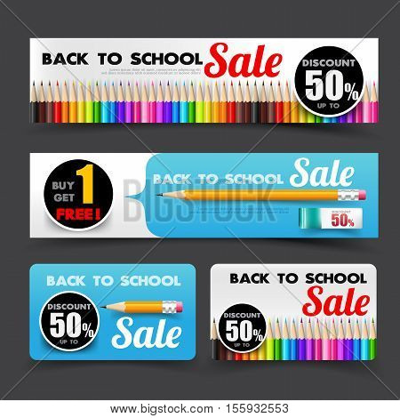 Collection of back to school sale with pencil element tag banner promotion sale discount style vector illustration eps 10