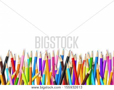 Color pencil on white background with copy space vector illustration eps10
