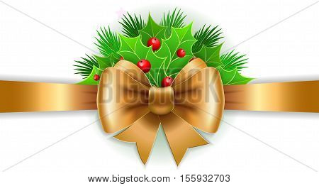 Christmas holiday decoration with gold ribbon bow and holly berry