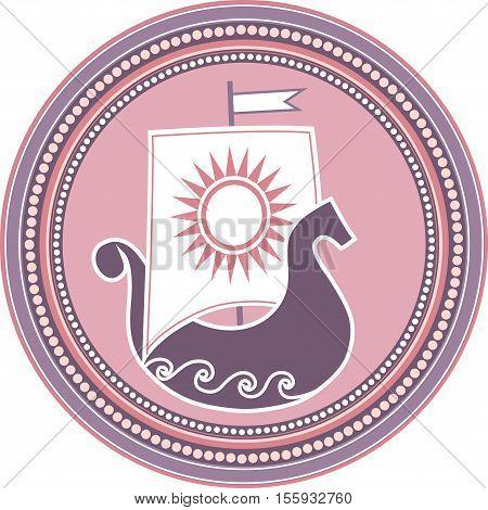 Logo with ethnic ship on white background.