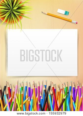 Top view of stationary blank paper and color pencil with copy space on wooden background vector illustration eps 10