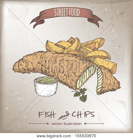 Color fish and chips sketch on vintage background. British cuisine. Street food series. Great for market, restaurant, cafe, food label design.