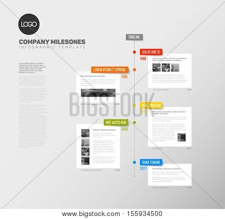Vector Infographic  timeline report template with the biggest milestones, photos, years and description