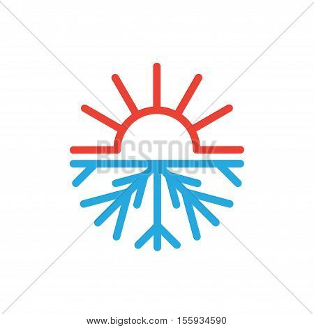 Abstract symbol of sun and snowflake isolated on white