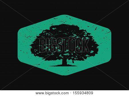 Oak Tree Logo in Dark Background, Creative design