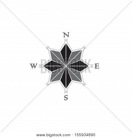 Gray and black color compass symbol isolated on white background