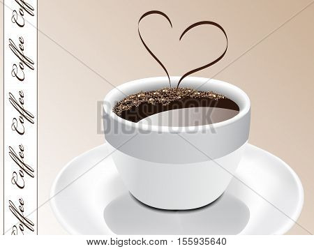 Vector coffee design with heart - illustration