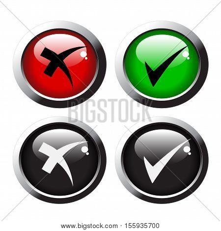 Vector check mark buttonson white background  - illustration