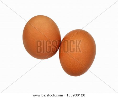 Two red big eggs on white background isolated
