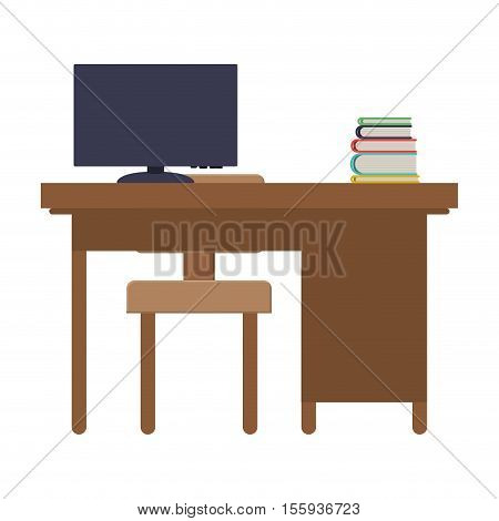 rear view desk with computer and chair vector illustration