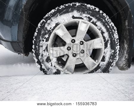 Car Wheel With Studded Tire, Winter
