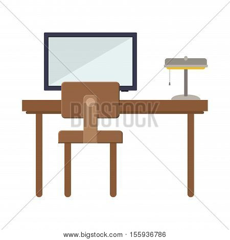 front view desk with flat screen and lamp vector illustration
