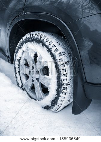 Modern Car Wheel With Studded Tire