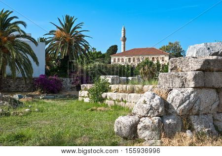 Greece Dodecanese Kos the archeological site of the Harbour Quarter