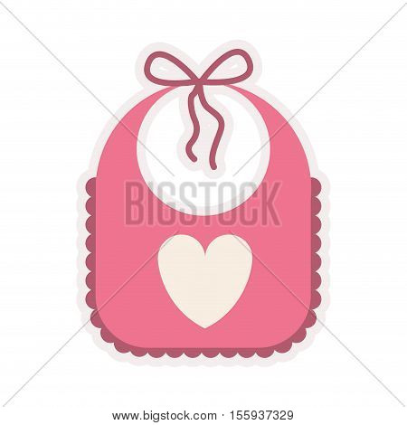 pink bib with heart silhouette vector illustration