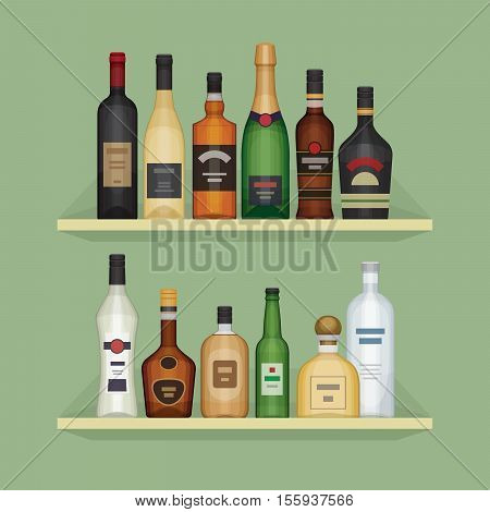 Different alcohol bottle on the shelf. Alcohol drinks and beverages. Shelf with bottles at the bar. Flat design style vector illustration.