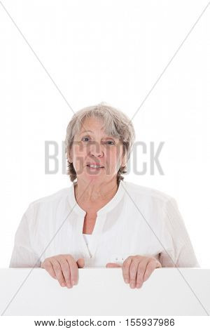 Old age woman. All on white background.