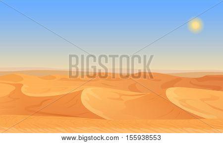 Cartoon nature empty sand desert landscape vector illustration