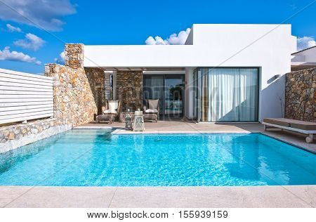 Kos Greece - May 18 2010: A luxury hotel in the Lampi village