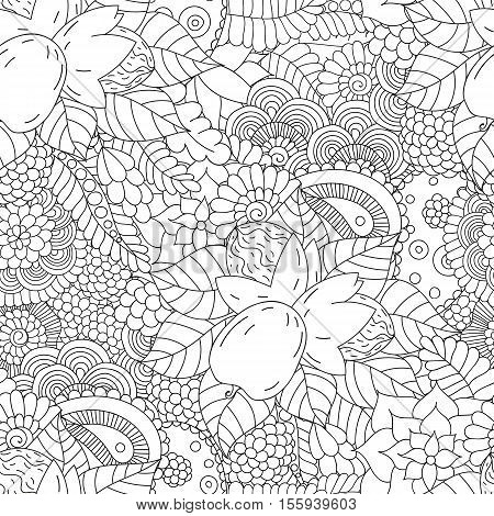 Doodle seamless pattern with walnut. Hand drawing floral background in . Ayurveda collection
