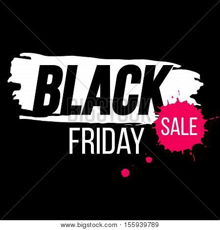 Black Friday banner with paint splash. Black Friday background for promotion. Template for Black Friday sale. Vector stock illustration.