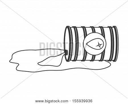 silhouette with barrel oil spilled vector illustration