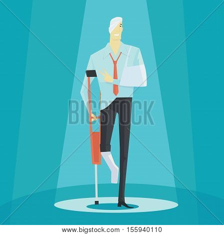 Young man on crutches of an injured, full length portrait. Vector illustration business concept.