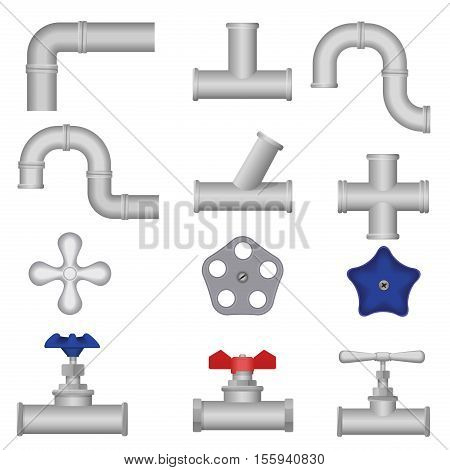 Construction plumbing pieces set of pipes, fittings, valve, gate. Plumbing, water pipes sewerage
