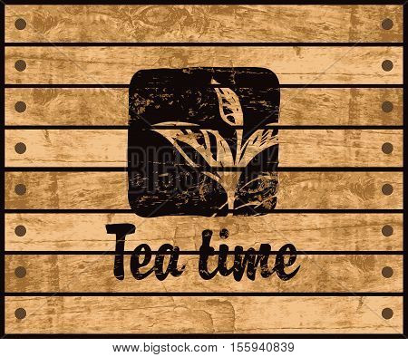 banner with the logo of the tea time with a pattern tea bush branch on a background wooden planks