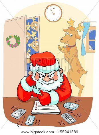 Santa sitting the table and thinking angrily Santas reindeer behind him card new year vector illustration