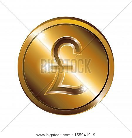 silhouette with coin gold and currency symbol of sterling pound vector illustration
