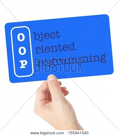 Object Oriented Programming explained on a card held by a hand