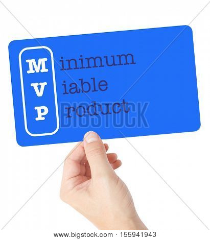 Minimum Viable Product explained on a card held by a hand