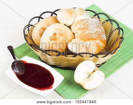tasty croissant bagels and jam breakfast ingredients