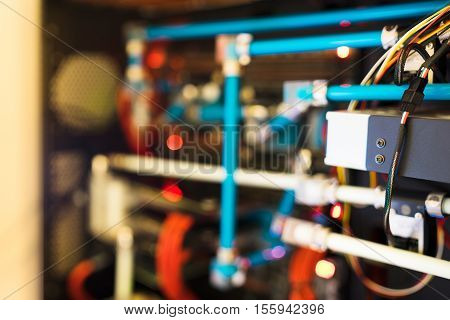 Inside Water Cooled High Performance Workstation Bokeh Backdrop