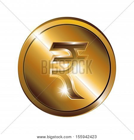 silhouette of coin gold and currency symbol india rupee vector illustration
