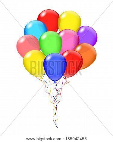 Vector transparent balloons bunch. Balloon's opacity is adjustable.