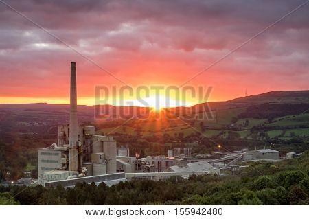 Sunrise over Hope Cement Works, Peak District, Derbyshire, England