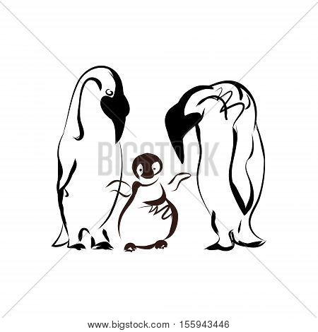Penguin family on a white background. The pattern of black lines abstract vector image