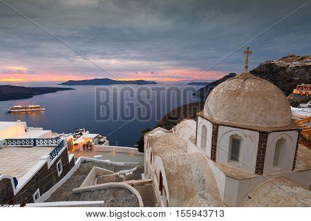 Town of Fira on Santorini island, Greece.
