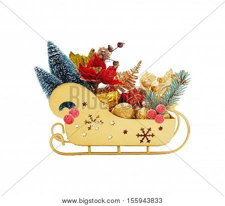 Full sleigh of Santa Claus with gifts of gold color isolated