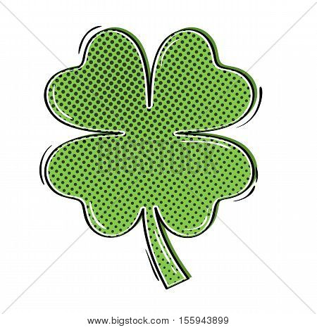 Comic clover with four leaves as a symbol of luck. Clover decoration as a symbol of irish cultural and religious celebration - Saint Patrick's day.