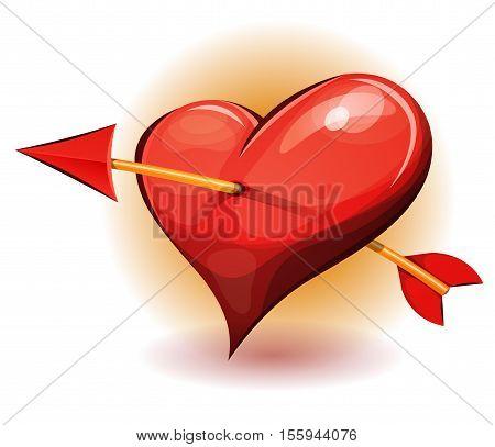 Illustration of a cartoon big heart icon pierced by the arrow of cupidon